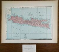 "Vintage 1901 JAVA INDONESIA Atlas Map 14""x11"" Old Antique BATAVIA JAKARTA"