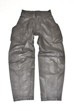 "Vintage Black Leather Straight Biker Women's Jeans Pants Trousers Size W30"" L30"""