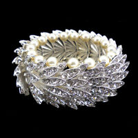 Luxury Twinkling Full Crystal Feather Pearl Wedding Party Prom Bracelet Bangle