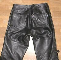 """ SHOEI "" Men's Lace-Up Leather Jeans/Leather Trousers IN Black Approx. W31 "" /"