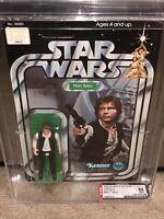 AFA 85 Kenner 1977 Star Wars 12-back-C Han Solo Small Head (85-85-85) Clear NM+