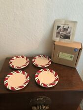 New Longaberger Baskets Peppermint Twist Pottery Coaster Set
