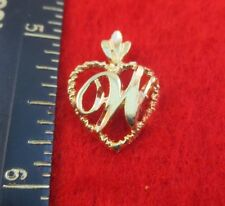 14KT GOLD EP LETTER W INITIAL HEART CHARM PENDANT