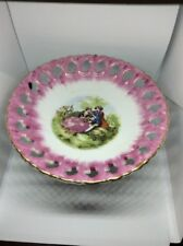 4 inch tall  candy dish on pedestal with scene in center