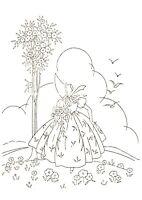 Vintage Visage iron on embroidery transfer- crinoline lady deco design 2 sheets