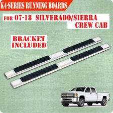 "For 07-18 Chevy Silverado Crew Cab 4"" Nerf Bar Running Board Side Step Chrome H"