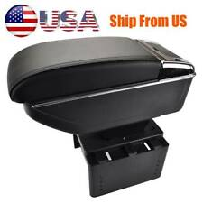 Universal Car Duel Console Comfort Armrest Central Console Box Pu Leather Black Fits Mazda