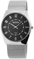 Akzent Herrenuhr Schwarz Silber Analog Metall Meshband Armbanduhr X2300006004