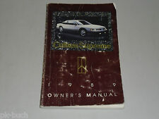 Betriebsanleitung Owner's Manual Oldsmobile Cutlass Supreme Stand 1989