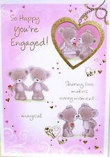 """Cute Bears """" ON YOUR ENGAGEMENT """"  Cards ~ With Heart Shape Cutout"""