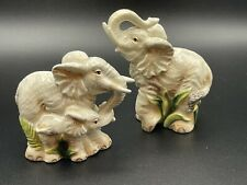 FITZ AND FLOYD CERAMIC ELEPHANT WITH BABY SALT & PEPPER SHAKERS SET CAPE TOWN