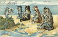 Louis Wain Cat Fantasy on Beach Talk to Fish c1910 Postcard G19