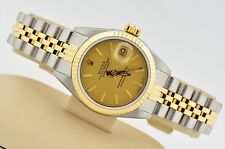 WOMEN'S ROLEX DATEJUST TWO TONE 18K GOLD & STAINLESS STEEL CHAMPAGNE DIAL 69173
