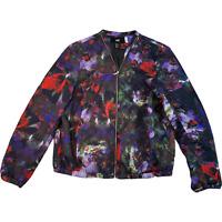 H&M Womens Bomber Jacket Eur 38 Medium Black Multicolour Floral Full Zip