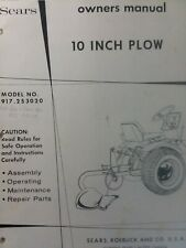 Sears Farm Field Plow Implement Garden Tractor Owner Amp Parts Manual 917253020