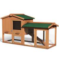 "58"" Large Wooden Rabbit Hutch Chicken Coop Bunny Animal Hen Cage House w/Run"