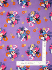 Disney Minnie Mouse Flower Toss Purple Cotton Fabric Springs CP29840 By The Yard