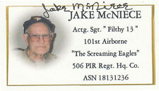 Jake McNiece FILTHY 13 WWII 101st D-Day 506th PIR RARE SIGNED Business Card
