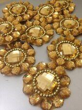 GOLD STRASS APPLIQUE, Motif, bordi, tagliare, Paillettes, perline 1 X (5.4 cm circa)