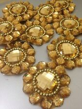 Gold Rhinestone Applique,Motif,edging,trim,sequins,beads 1 X (5.4 cm Approx)