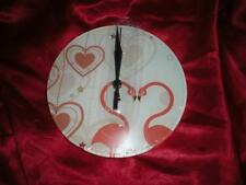 NEW ROUND BEAUTIFUL HEART PINK FLAMINGO  ACRYLIC WALL CLOCK CHRISTMAS GIFT
