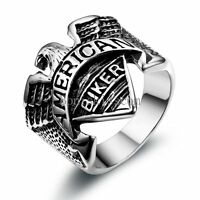 "Black Silver Stainless Steel "" American Biker "" Eagle Men's Boys Ring Size 9-12"