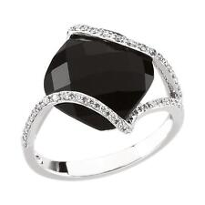 Black Onyx and Diamond Ring 14K White Gold Size 7