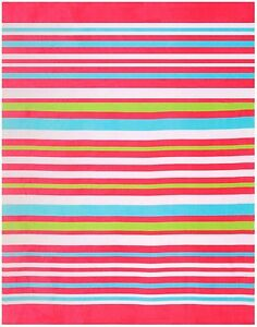 "58""x74"" Beach Blanket Beach Towel ""Horizontal Bold Stripes Pink"""