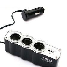 Universal Auto Accessories 3-Way Car Cigarette Lighter Socket Spliter+USB Port