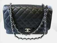 Chanel Handbag Maxi Double Flap Quilted Black Caviar Leather Silver Chain Strap