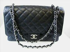 CHANEL BLACK CAVIAR QUILTED MAXI DOUBLE FLAP SHOULDER BAG CHAIN STRAP STUNNING!