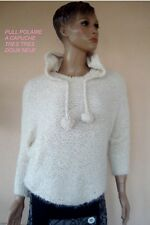 PULL POLAIRE A CAPUCHE BLANC  NEUF T M/L 38/40/42 NEUF