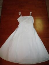 Girls White Formal Spaghetti Strap Dress  Floral Embroidery    Size 12  NWT!!