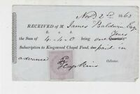 Received 1863 Subscription to Kingswood Chapel Fund Stamp Receipt Ref 35262