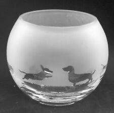 More details for dachshund frieze 16cm boxed glass bubble bowl / globe vase