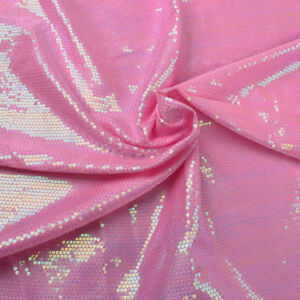 3MM glitz laser sequin fabric Iridescent pink Sequin Embroidered Fabric By Yard