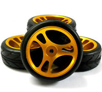 AA1003G 1/10 Scale RC Car On Road Wheel and V Tread Tyre Gold Alloy 3 Spoke x 4