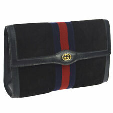 GUCCI PARFUMS Shelly Line Clutch Hand Bag Navy Suede Leather Vintage M14407c
