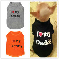 XS S Small Dog Clothes T shirt I LOVE MY MOM DADDY for Chihuahua Yorkie Maltese