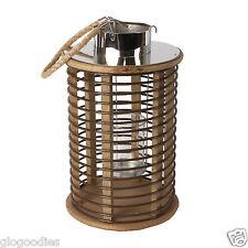 Contemporanea Marrone in legno vimini stile Round Lantern TEA LIGHT CANDLE HOLDER
