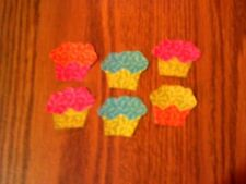 Mini Cupcake  - 6 - Iron-On Fabric Appliques.  (A)