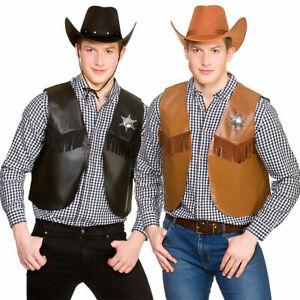 Cowboy Waistcoat Black or Brown Wild West Western Men's Fancy Dress Accessory