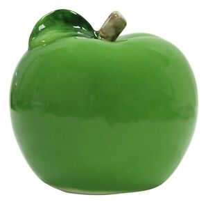 Glossy Green Apple - Ceramic Fruit Ornament Table Decor Mantlepiece Display 12cm