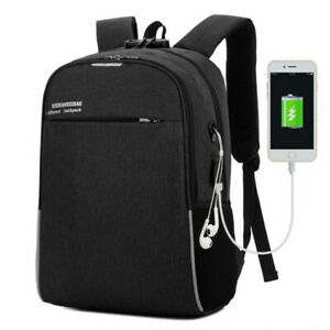"""Men Women 16"""" Laptop Backpack School Outdoor Travel USB Charger Bags Anti-Theft"""