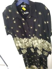 Women's Black n green Dress Skirt Suit Size L14-16  floral Caribou N.Y.