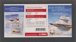 2011 $6 AIR FORCE AVIATION BKLT OPT'D APTA SYDNEY 2011 B/C 2 (only250) MNH