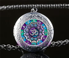 OM Mandala Cabochon Glass Tibet Silver Chain Locket Pendant Necklace