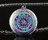 OM Mandala Cabochon Glass Tibet Silver Chain Locket Pendant Necklace