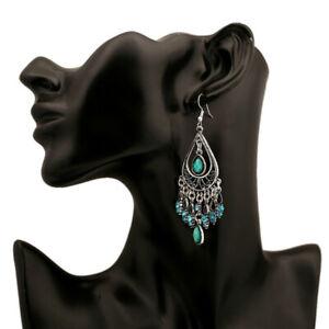 Retro 925 Silver Women Gemstone Tassel Ethnic Boho Dangle Drop Earrings Jewelry
