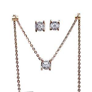 Sparking square SI/H Diamond earring stud pendant w/necklace 18K rose Gold AU750